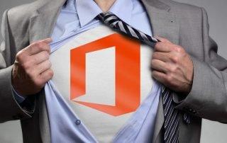 Man ripping shirt open, revealing Office 365