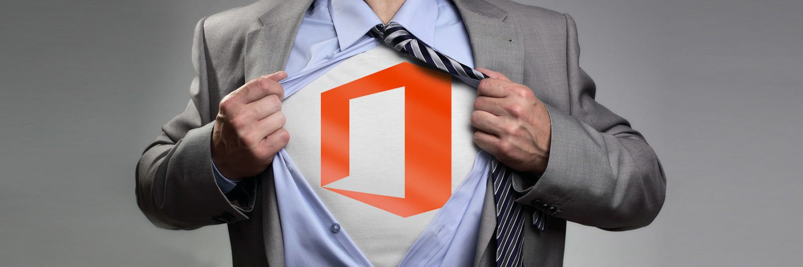 Man ripping shirt open, revealing Office 365