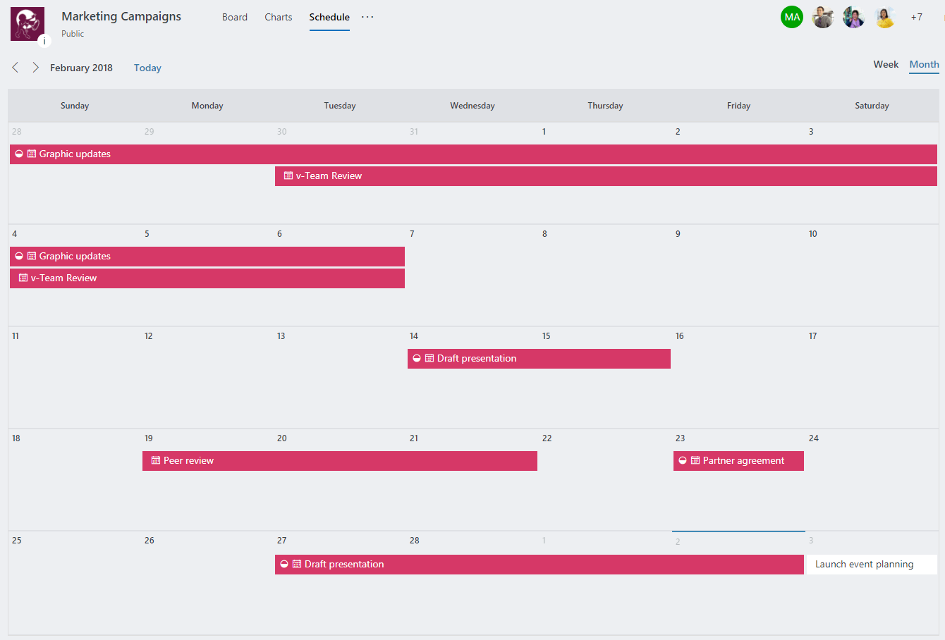 Screenshot of Schedule view in Planner
