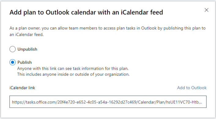Add plan to Outlook