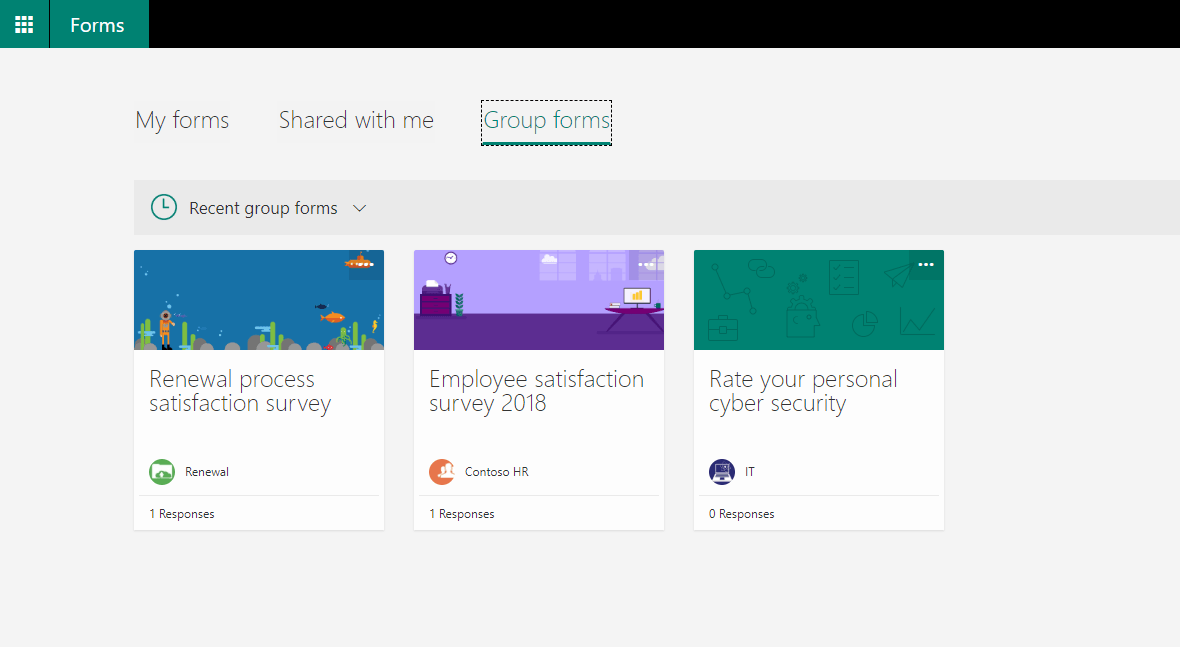 Forms homepage showing new Group forms tab