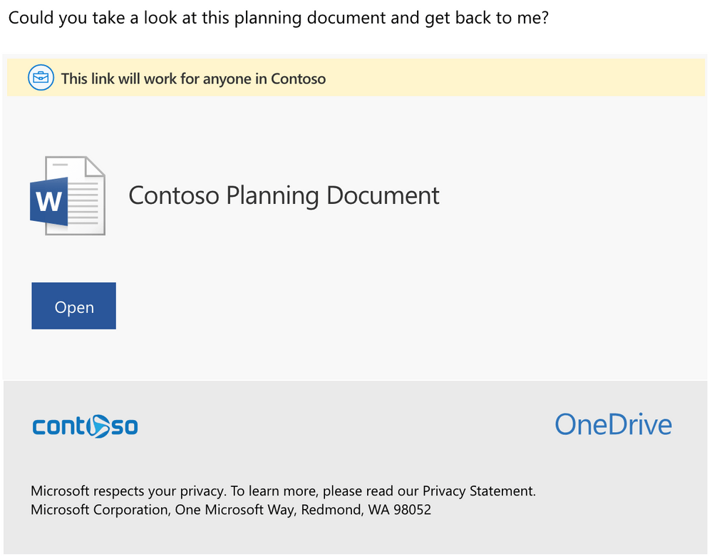 Sample OneDrive sharing email