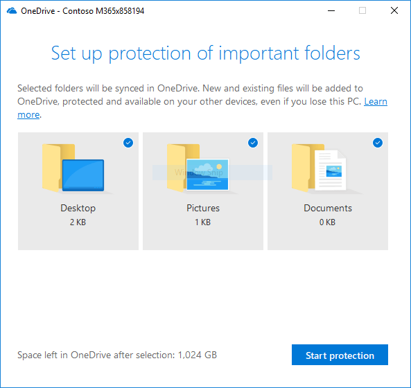 Screenshot of OneDrive's Known Folder Move guided configuration screen