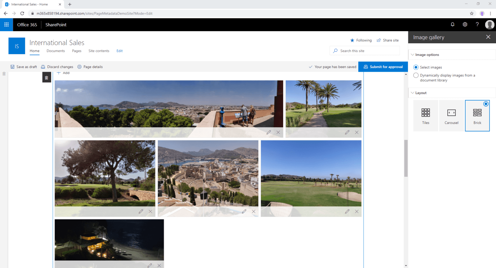 Screenshot showing Brick layout of Image gallery web part