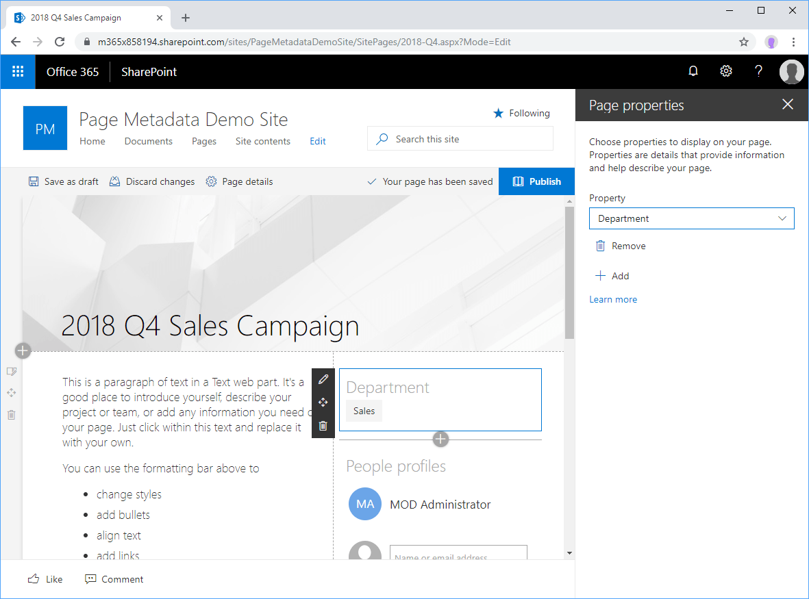 Screenshot of Page properties web part