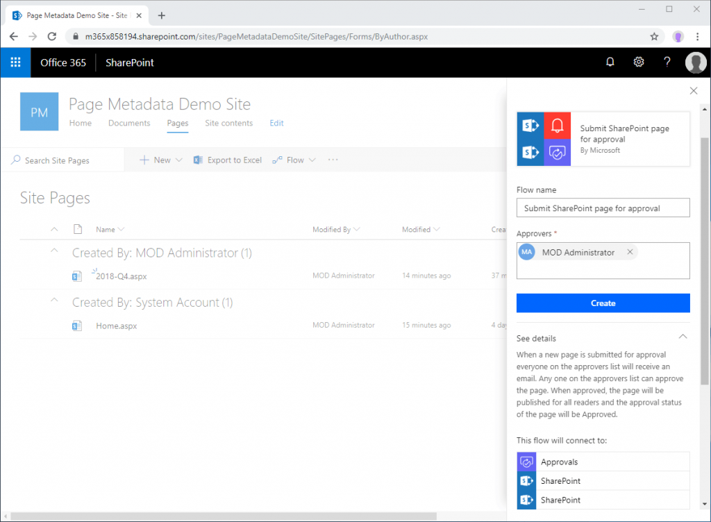 Screenshot of SharePoint page approval flow configuration