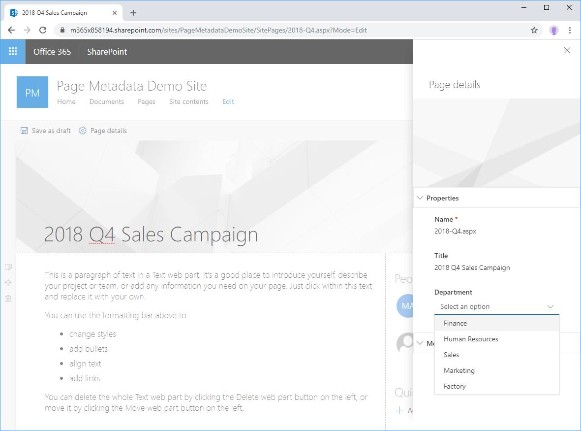 Screenshot showing metadata property selection on Page details panel