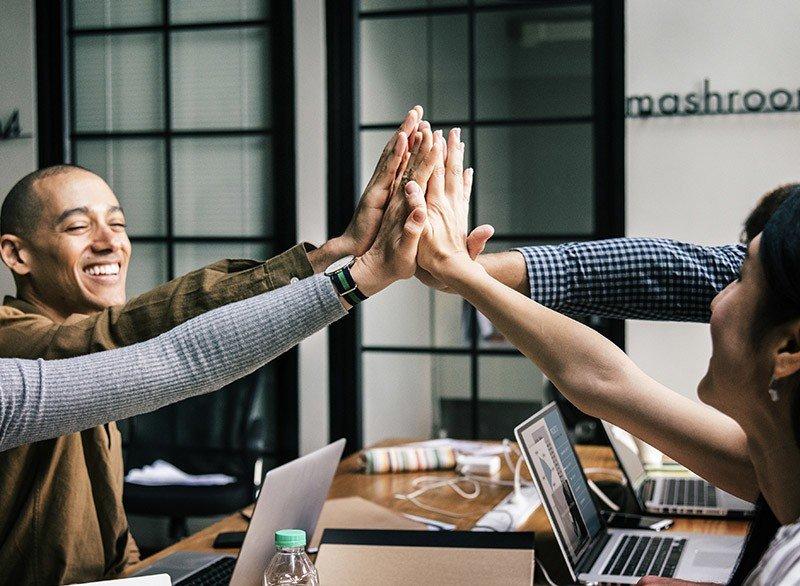 Teamwork high-five