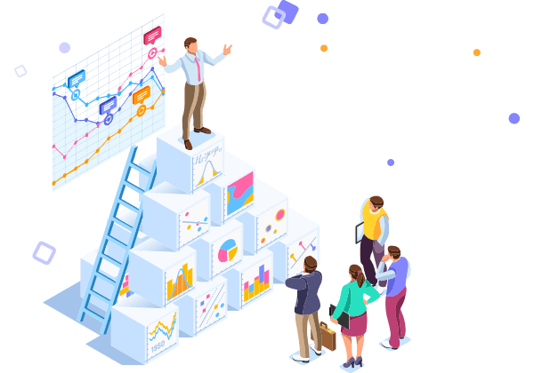 Business Isometric person speaking on top of boxes