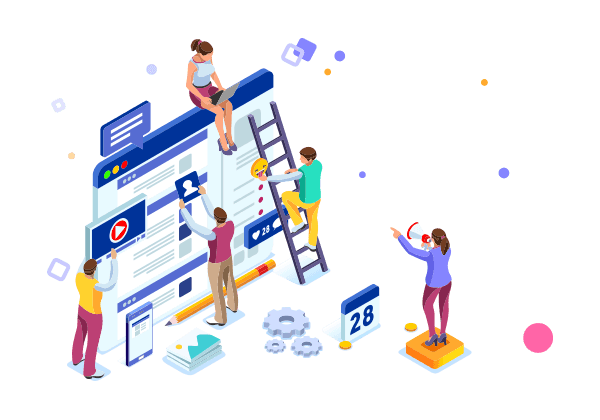 Business Isometric people designing a system
