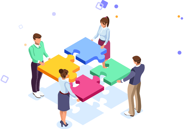 Business Isometric 4 people with puzzle pieces