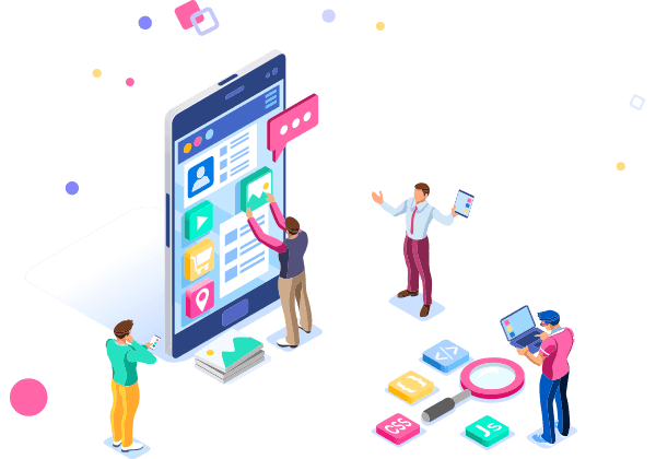 Business Isometric users designing an interface on a mobile device