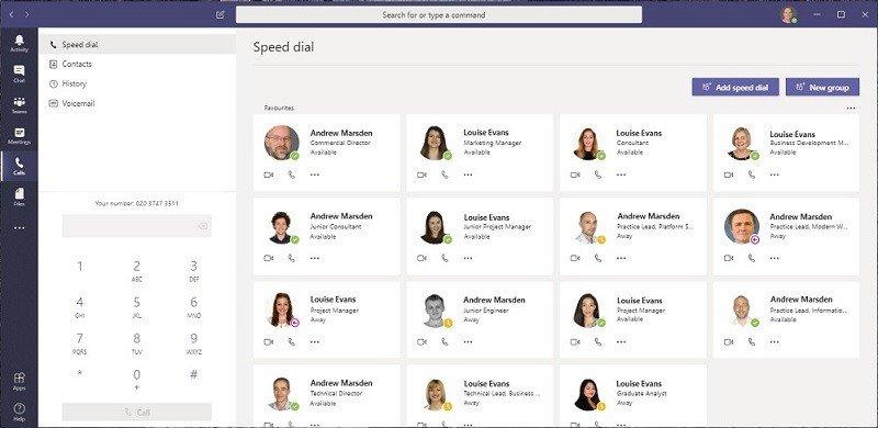 Microsoft Teams Calls Interface
