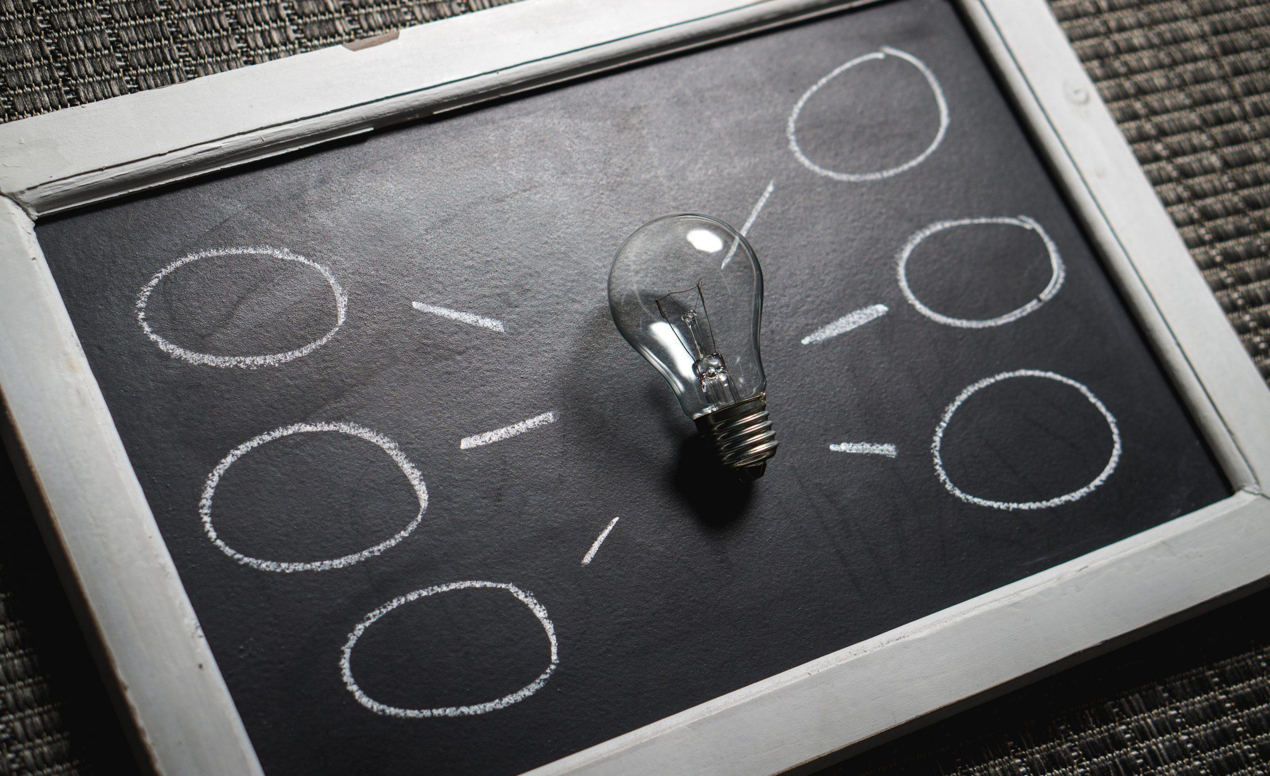 image of a light bulb on a chalk board