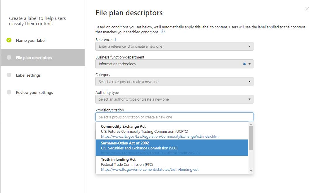 File Plan Descriptors