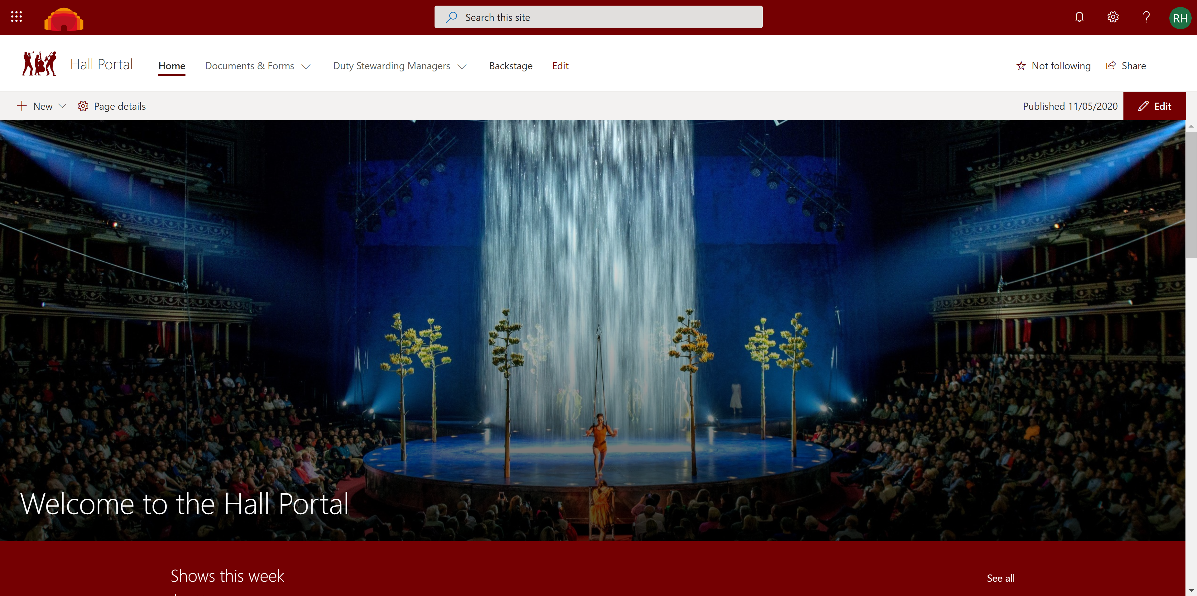 Royal Albert Hall intranet