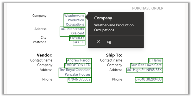 SharePoint Syntex's Forms Processing capability purchase order