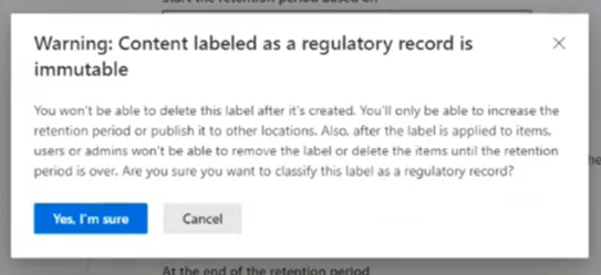 warning: regulatory record label